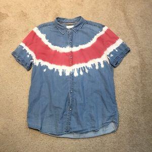 Koto Button Down Denim Tie Dye Shirt